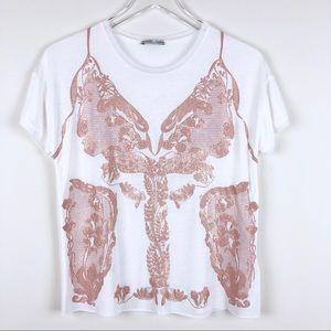 ZARA  white and rose gold t shirt